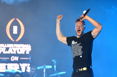 Dan Reynolds of Imagine Dragons performs during the 2019 College Football Playoff National Championship Game Halftime Show
