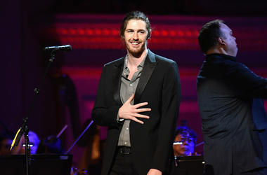 Musician Hozier performs onstage during the ONE Campaign and (RED)'s concert to mark World AIDS Day, celebrate the incredible progress that's been made in the fights against extreme poverty and HIV/AIDS