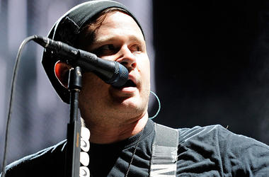 "Blink-182 singer/guitarist Tom DeLonge performs at the Red Rock Casino as the band tours in support of the new album, ""Neighborhoods"" October 7, 2011 in Las Vegas, Nevada"