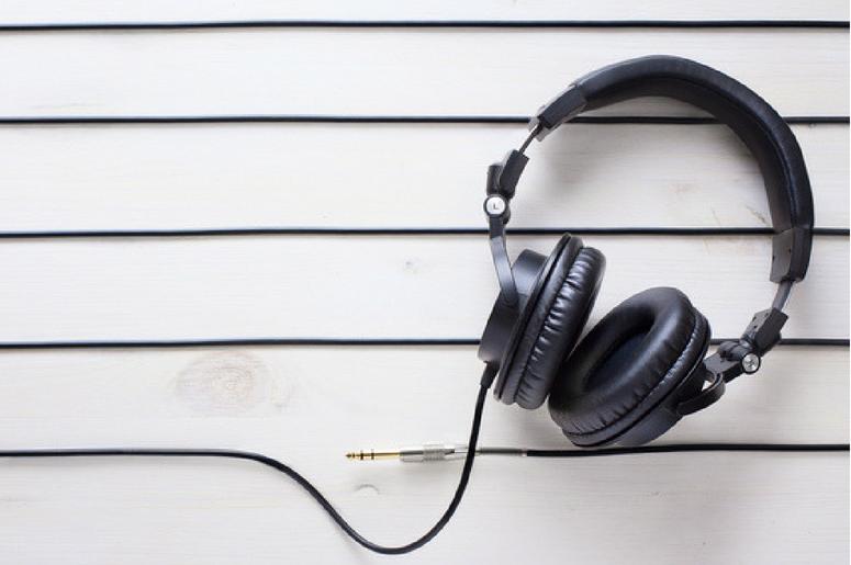 Art music studio background with dj headphones