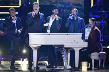 "Oct 18, 2017; Nashville, TN; Backstreet Boys honor 2017 CMT Artists of the Year Florida Georgia Line by performing their song, ""Holy,\"" during the show at Schermerhorn Symphony Center."