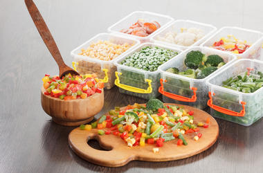 Healthy food packaging, frozen vegetable vegetarian nutrition