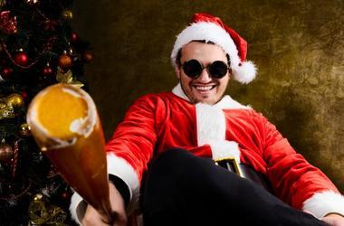 Christmas Santa Guy With a Baseball Bat