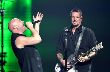 Singer David Draiman (L) and guitarist Dan Donegan of Disturbed perform