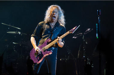 Kirk Hammett of Metallica performing live on stage at Genting Arena in Birmingham, UK