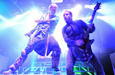 Singer Brent Smith (L) and guitarist Zach Myers of the band Shinedown perform