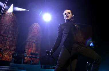 Tobias Forge performing as Cardinal Copia of the band Ghost at Barclays Center on December 15, 2018 in New York City.