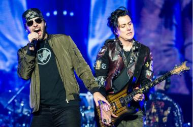 M. Shadows and Synyster Gates of Avenged Sevenfold perform during Avenged Sevenfold's The Stage World Tour featuring Avenged Sevenfold, Volbeat and Motionless in White at Giant Center