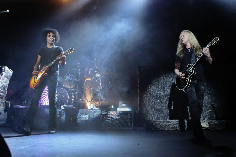 William DuVall and Jerry Cantrell of Alice in Chains perform onstage at Terminal 5 on March 9, 2010