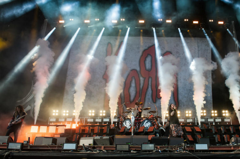 Korn performing live on stage on day 3 of Leeds Festival a Bramham Park, UK