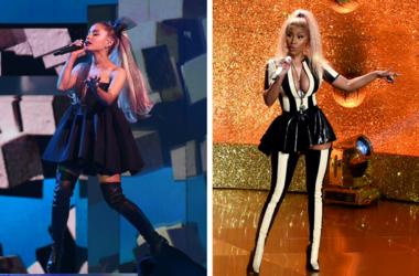 Ariana Grande performs at the 2018 Billboard Music Awards. / Nicki Minaj performs on the 2017 'MTV Video Music Awards'.