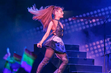 LOS ANGELES, CA - JUNE 02: Ariana Grande performs onstage at the Banc of California Stadium on June 2, 2018 in Los Angeles, California.