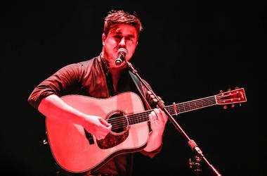 Marcus Mumford, lead vocalist for the British band Mumford & Sons performs with the band at Bankers Life Fieldhouse