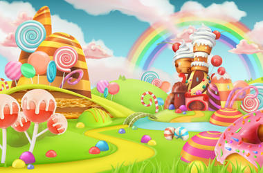Sweet candy land. Cartoon game background. 3d vector