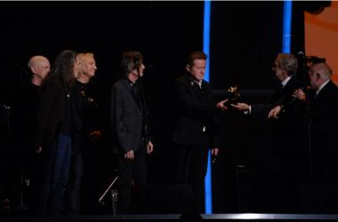 Don Henley, Joe Walsh and other members of the Eagles after a tribute to Glenn Frey was performed during the 58th Grammy Awards at the Staples Center