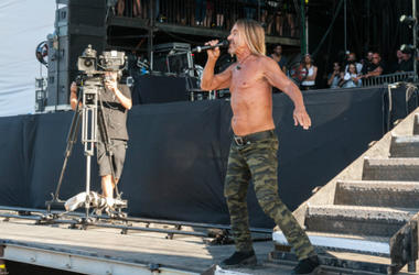 Iggy Pop performs live on stage during Queens of the Stone Age and Friends show in Finsbury Park on June 30, 2018 in London, England