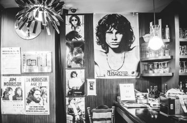 Le Pere Lachaise cafe interior in Paris. Singer Jim Morrison used to visit this cafe.