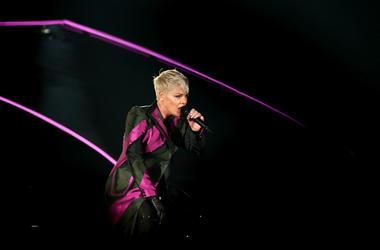 Singer Pink performs live on stage at Forsyth Barr Stadium on September 1, 2018