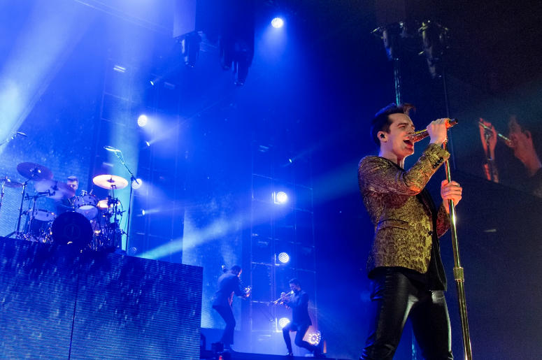Dan Pawlovich, Erm Navarro, Chris Bautista and Brendon Urie of Panic! at the Disco at Allstate Arena on March 11, 2017