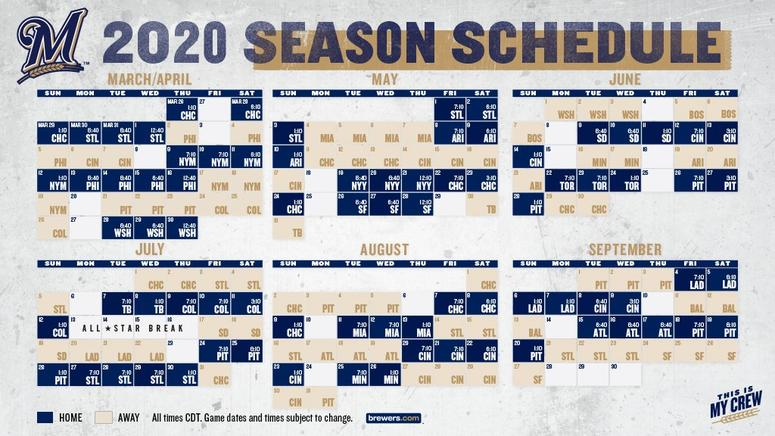 photo relating to Printable Brewers Schedule named MLB, Milwaukee Brewers 2020 routine produced Monthly bill