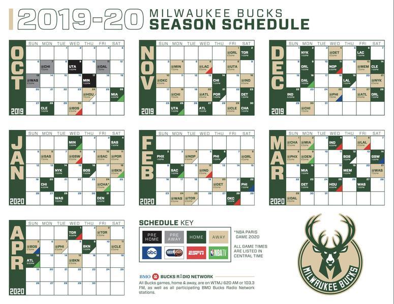 NBA, Milwaukee Bucks 2019-2020 season schedule released