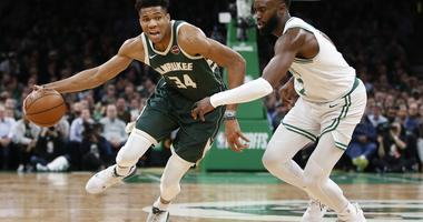 Giannis Antetokounmpo Milwaukee Bucks Boston Celtics