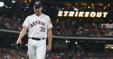 Houston Astros starting pitcher Justin Verlander (35) walks to the dugout after recording a strike out during the second inning against the Tampa Bay Rays at Minute Maid Park