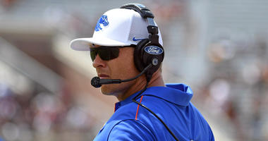 Boise State Broncos head coach Bryan Harsin looks on during a game against the Florida State Seminoles at Doak Campbell Stadium