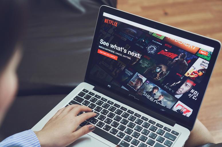 Bangkok, Thailand - January 9, 2018 : Netflix app on Laptop screen. Netflix is an international leading subscription.