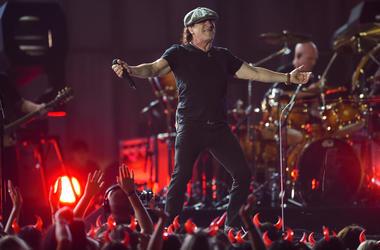 AC/DC lead vocalist Brian Johnson performs