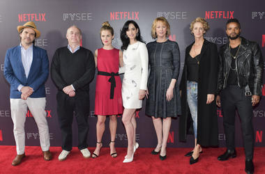 "Manuel Billeter, Jeph Loeb, Rachel Taylor, Krysten Ritter, Melissa Rosenberg, Janet McTeer, and Eka Darville arrive at the #NETFLIXFYSEE event for ""Jessica Jones"" at Netflix FYSEE at Raleigh Studios on May 19, 2018 in Los Angeles, California"