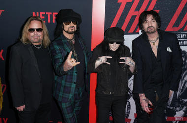 Vince Neil, Nikki Sixx, Mick Mars and Tommy Lee of Motley Crue at Los Angeles Premiere Of Netflix's 'The Dirt'