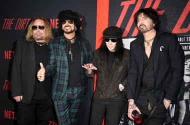 Vince Neil, Nikki Sixx, Mick Mars and Tommy Lee of Motley Crue arrive at the premiere of Netflix's 'The Dirt'