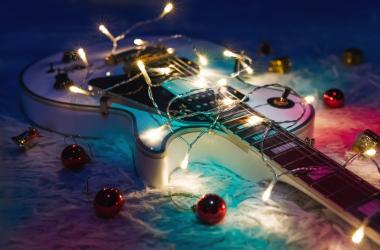 Christmas lights on guitar