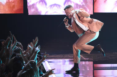Macklemore performs at the 2017 American Music Awards