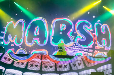 Marshmello during Bonnaroo Music and Arts Festival at Great Stage Park on June 10, 2017, in Manchester, Tennessee.