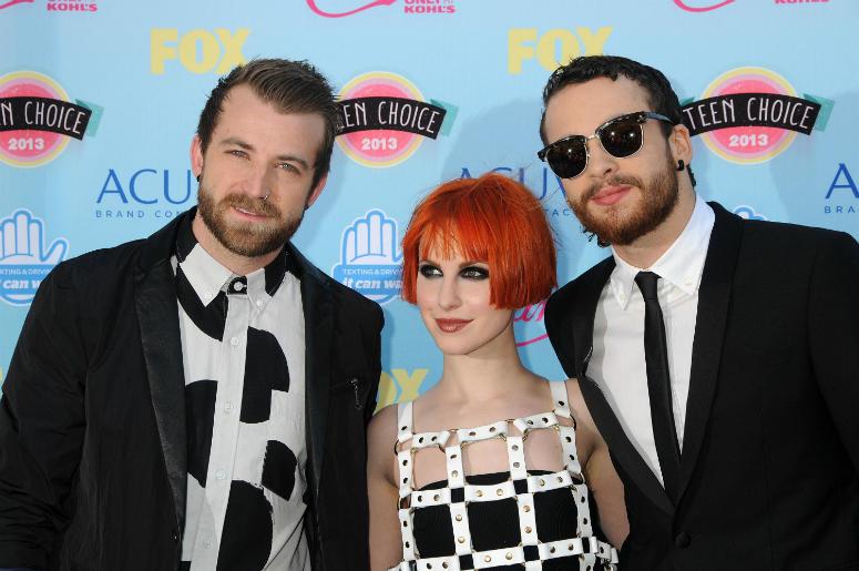 Jeremy Davis, Hayley Williams, Taylor York, Paramore. 2013 Teen Choice Awards - Arrivals held at Gibson Amphitheatre.