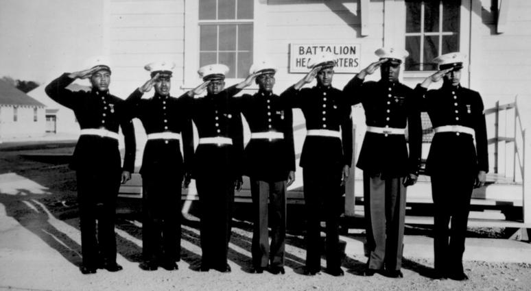 Although a dress uniform is not a part of the regular equipment, most of the Negro Marines spend $54 out of their pay for what is generally considered the snappiest uniform in the armed services
