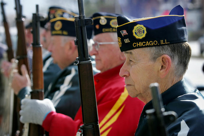 Members of the American Legion Post 220 prepare for a rifle salute during a Veterans Days ceremony November 11, 2004 in Chicago, Illinois. About 30 people gathered for the small ceremony on the eastern edge of the city.
