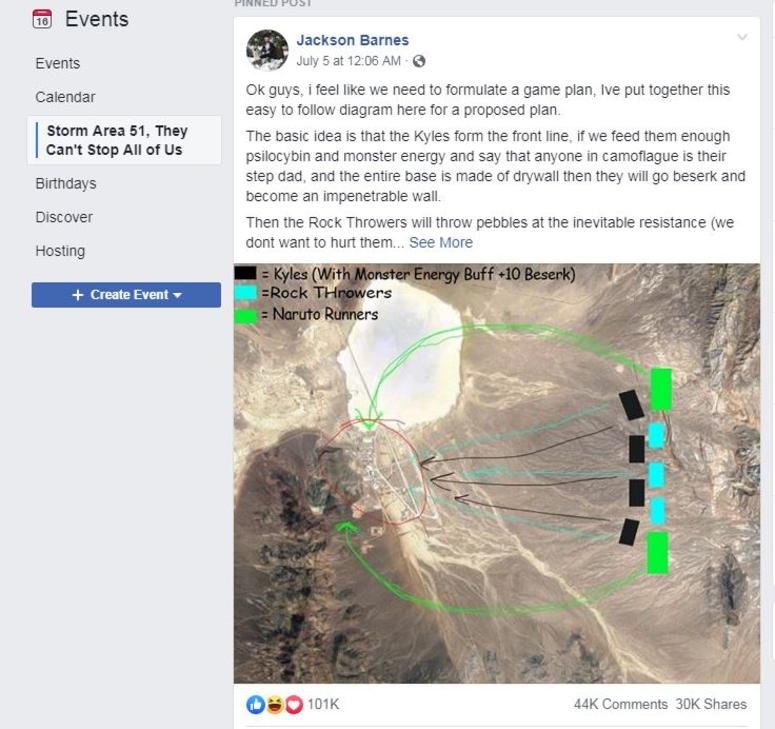 Don't storm Area 51, Air Force tells Facebook group planning to come