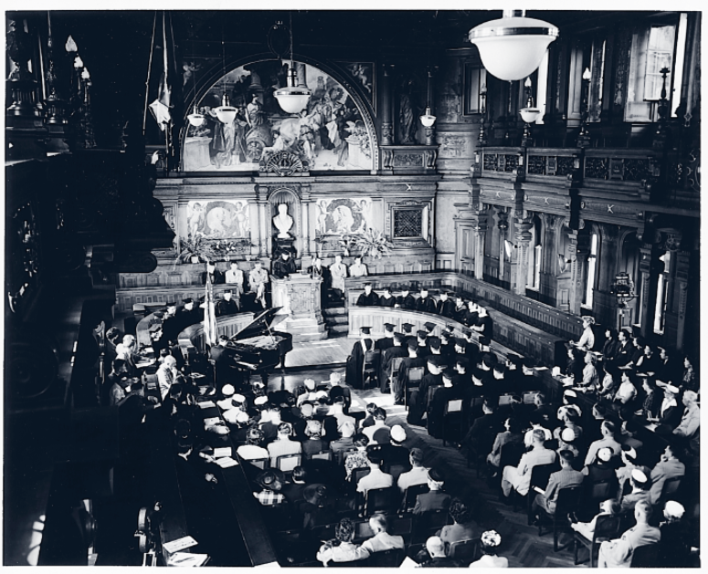 UMUC held its first Europe graduation ceremony (pictured here) in 1951 at the University of Heidelberg's ornate Alte Aula auditorium.