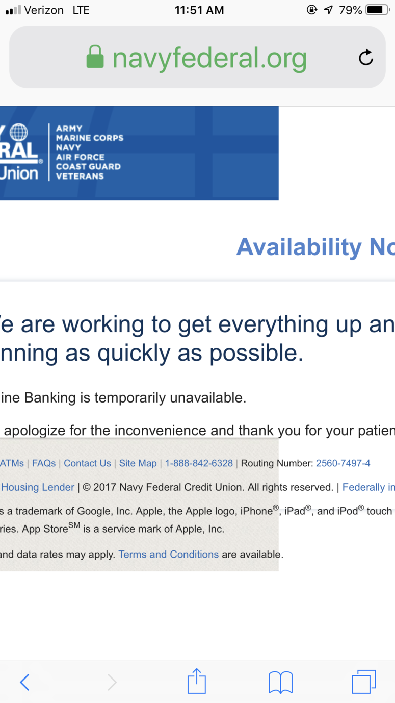 Navy Federal Credit Union website and mobile app down due to
