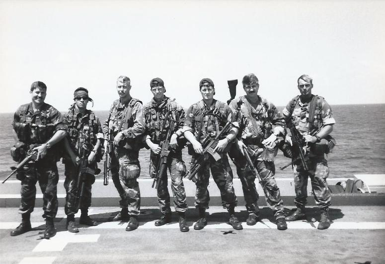 A photo of Don Shipley 2nd from right during his time on the SEAL teams