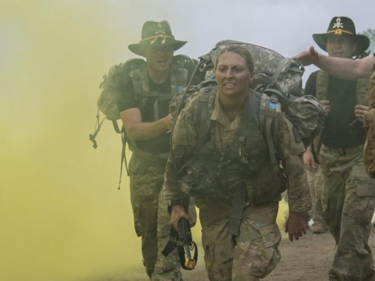 Sgt. Danielle Martin approaches the finish of a ruck march during the 1-134th Cavalry Squadron's spur ride during annual training in the Republic of Korea