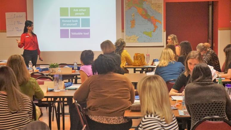 Military spouses attend a workshop at Army base Camp Ederle in vicenza Italy