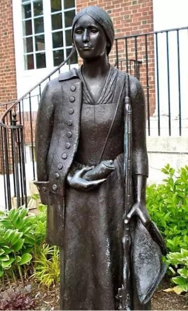 Statue of Deborah Sampson at the Sharon Massachusetts Public Library.