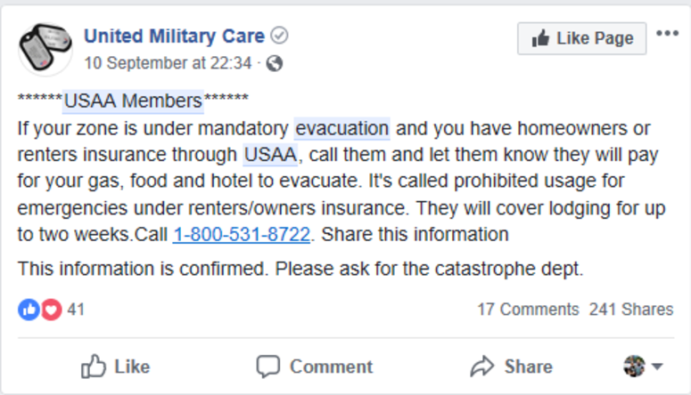 Usaa 1800 Number >> Usaa Hurricane Evacuation Benefits Connecting Vets