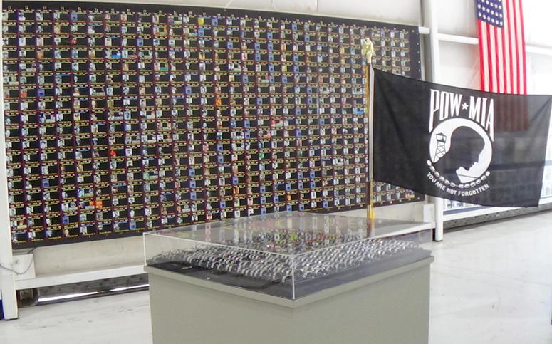POW MIA bracelet display at the Palm Springs Air Mueseum