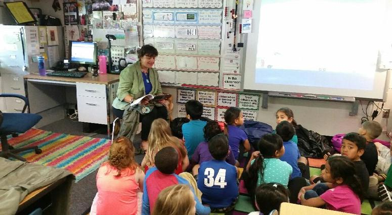 Graciela reads during classroom visit