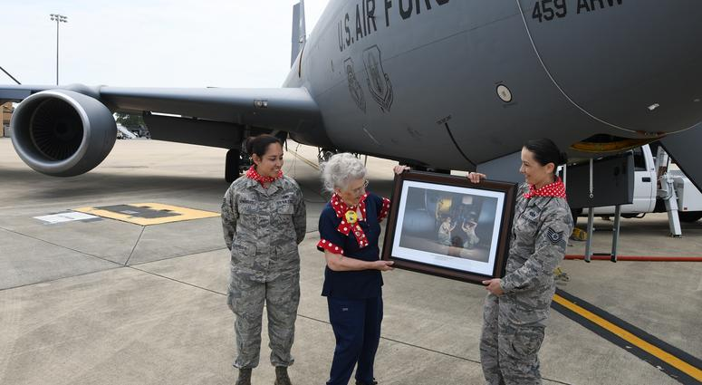 "Mae Krier ""Rosie the Riveter"" visits the 459th ARW"